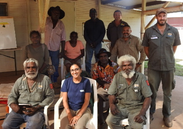Researchers Dr Kamaljit Sangha and Dr Andrew Edwards and the Garawa & Waanyi Garawa Rangers, Borroloola, at the Scenario Planning workshop. Source: Charles Darwin University