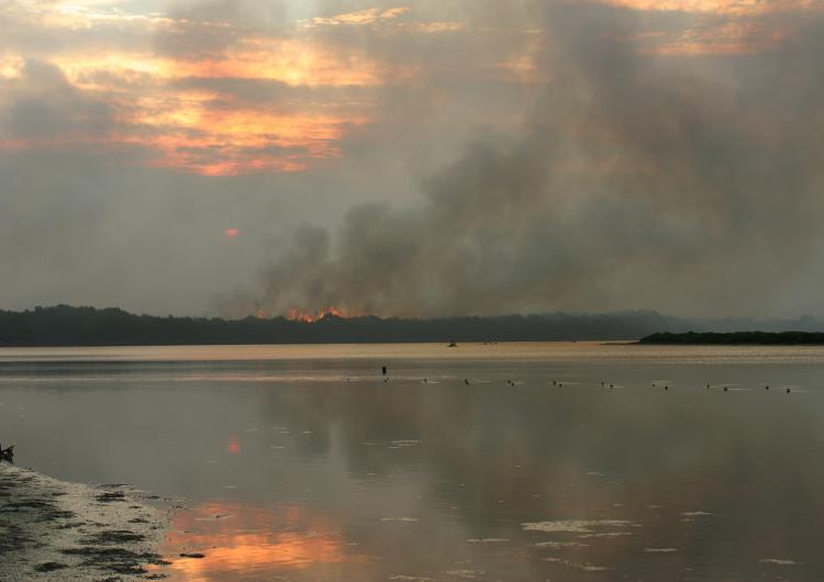 Smoke on the horizon. Photo credit: Tasmania Fire Service.
