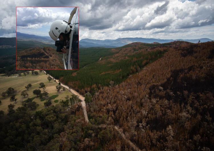 CRC researcher Marta Yebra in a helicopter flying over the Pierces Creek fire. Photo: Marta Yebra.