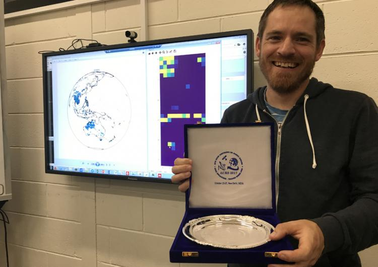 PhD researcher Bryan Hally won best paper at a remote sensing conference in India.