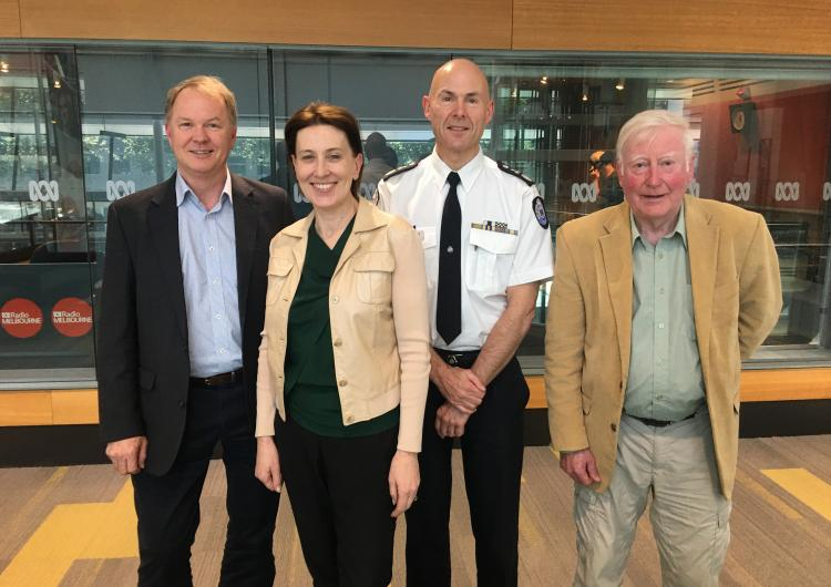 Dr John Bates, ABC's Virgina Trioli, Commissioner Andrew Crisp and Prof Jim McLennan - the Conversation Hour discussed the complex issues involved in either leaving early or choosing to defend a property in a bushfire.