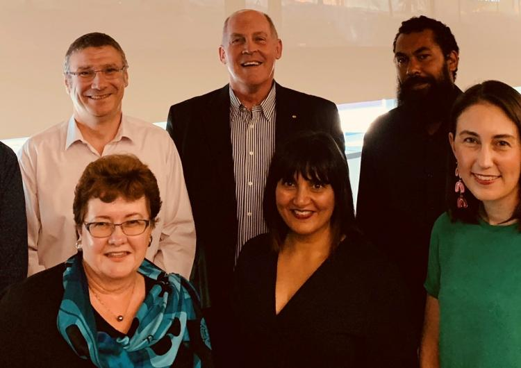 Panel at QUT forum: (back row) Dr Timothy Graham, Dr Richard Thornton, Major-General Richard Wilson, Leeton Lee, Prof Vivienne Tippet (front row) A/Prof Wendy Scaife, A/Prof Amisha Mehta, A/Prof Dominique Greer
