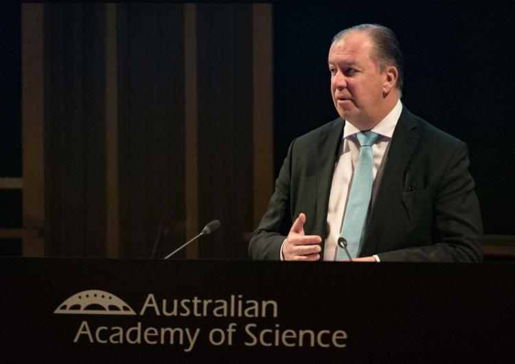 Mark Crosweller AFSM speaks at the 2018 Science at the Shine Dome.
