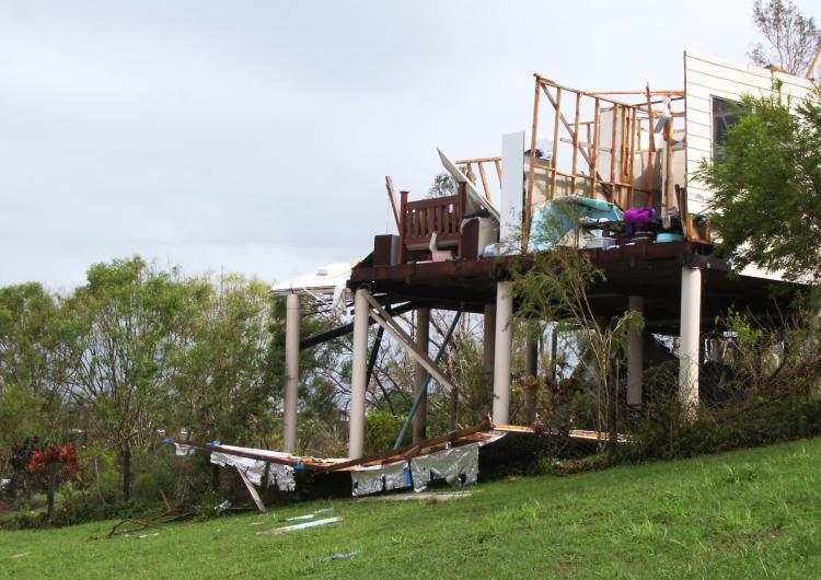 Cyclone Larry tears through northern Queensland. Photo: James Cook University Cyclone Testing Station