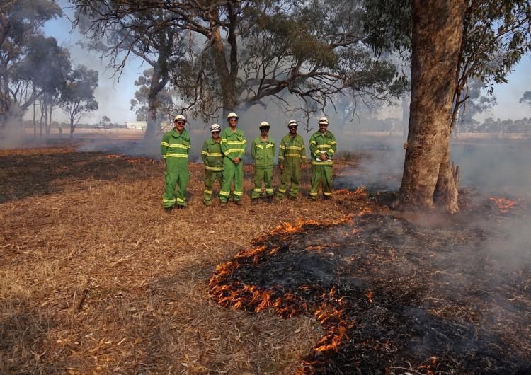 Dr Timothy Neale (left), with Karen Patterson, Harley Douglas, Andrew Saunders, Amos Atkinson and Mick Bourke at djandak wi (healthy fire) burn on Dja Dja Wurrung Country.
