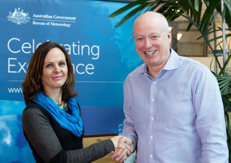 Dr Mika Peace with Director of Meteorology for the Bureau of Meteorology Dr Andrew Johnson.