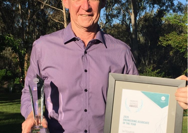 Ian Fitzpatrick with his Engineering Associate of the Year award.