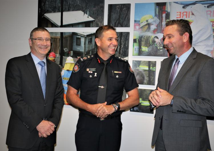 Craig Crawford MP, (right) Qld Minister for Fire and Emergency Services, with Richard Thornton and Mike Wassing (QFES)