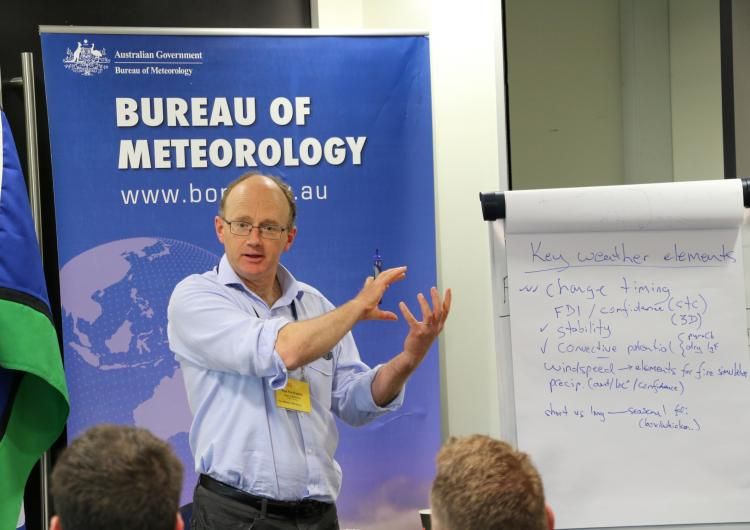 Paul Fox-Hughes from the Bureau of Meteorology presenting a talk on extreme weather at a Fire Behaviour and Fuels Conference workshop.