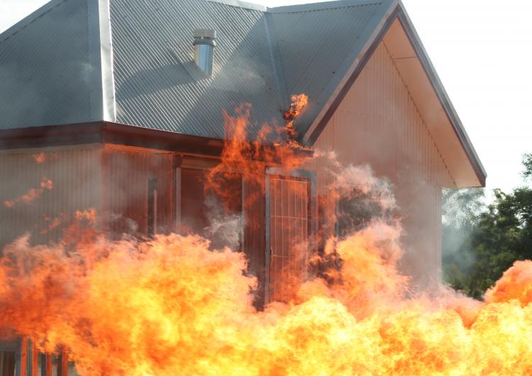 Testing how a house holds up against flames and where the weak points are during a bushfire. Photo: David Bruce, Bushfire and Natural Hazards CRC.