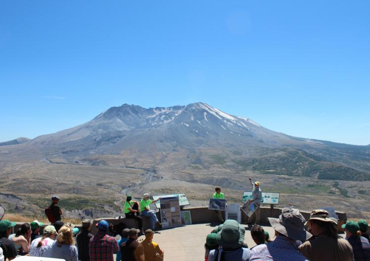 Learning about the 1980 eruption at Mount St Helens. Photo: Emma Singh