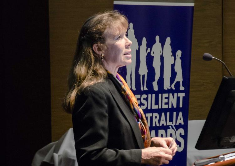 Rachel Westcott presenting at the Australasian Natural Hazards Management conference