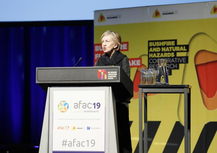Prof Mary O'Kane AC presenting the inaugural Dr Laurie Hammond Oration at AFAC19, Melbourne