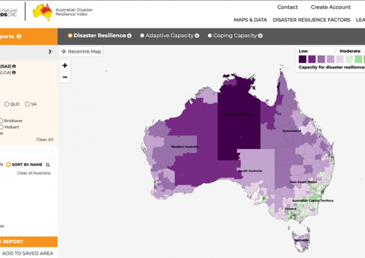 The Australian Disaster Resilience Index provides a national picture of disaster resilience, with an interactive map, detailed reports and information about strengths and barriers to disaster resilience of each community.