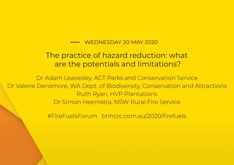 National Fire Fuels Science Webinars - The practice of hazard reduction (webinar 3 of 3)