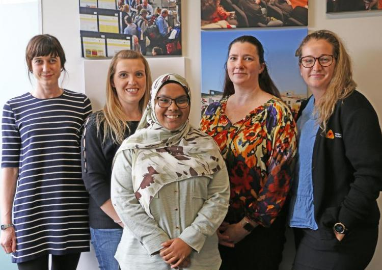 Radhiya Fanham (middle) with CRC staff (left to right) Catrin Harris, Vaia Smirneos, Loriana Bethune and Kelsey Tarabini