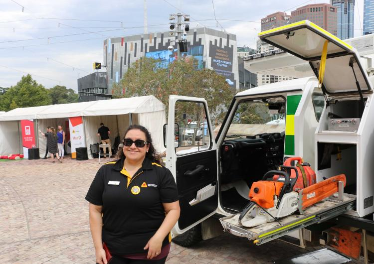 Sarah Mizzi at Melbourne's International Women's Day event for emergency services in 2019.