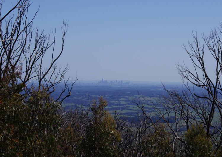 View of Melbourne from the Kinglake Ranges, three years after the area was devastated by Black Saturday.