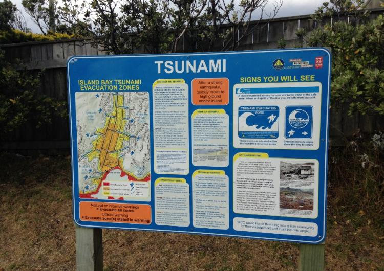 Tsunami evacuation sign in Wellington New Zealand. Photo: Emma Singh