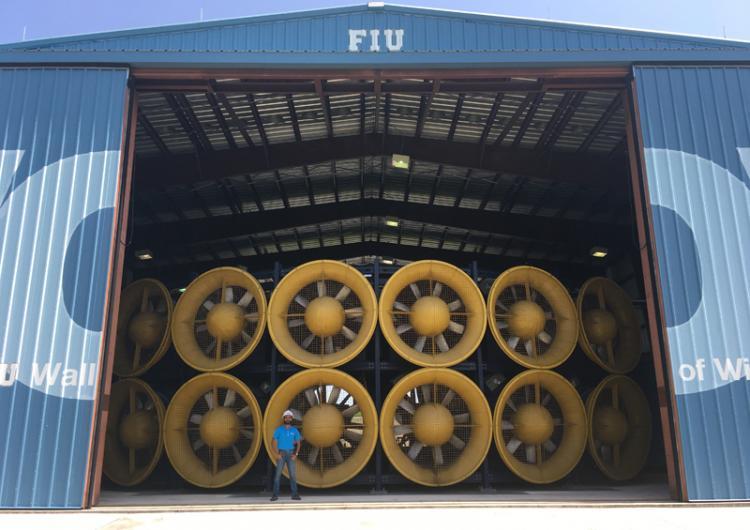 Korah Parackal at the Florida International University's 'Wall of Wind'.