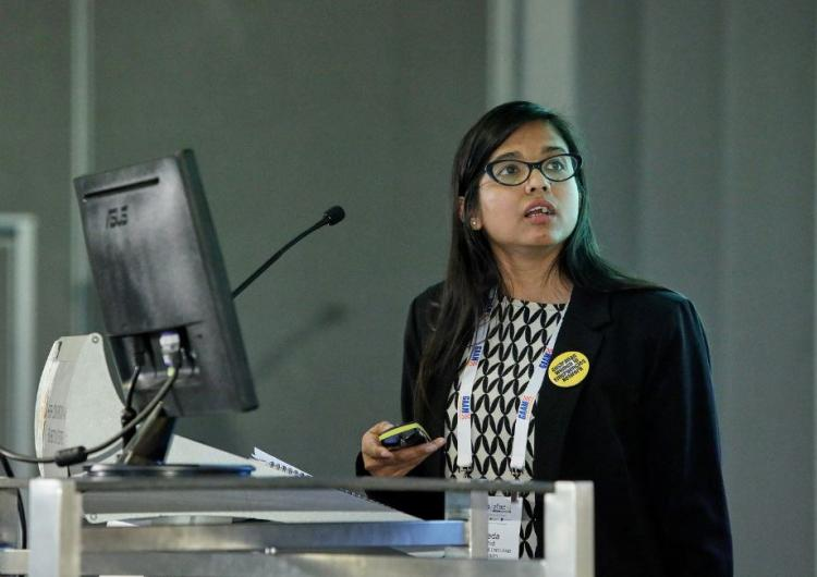 Mayeda Rashid presenting her research paper at AFAC18 powered by INTERSCHUTZ in Perth.
