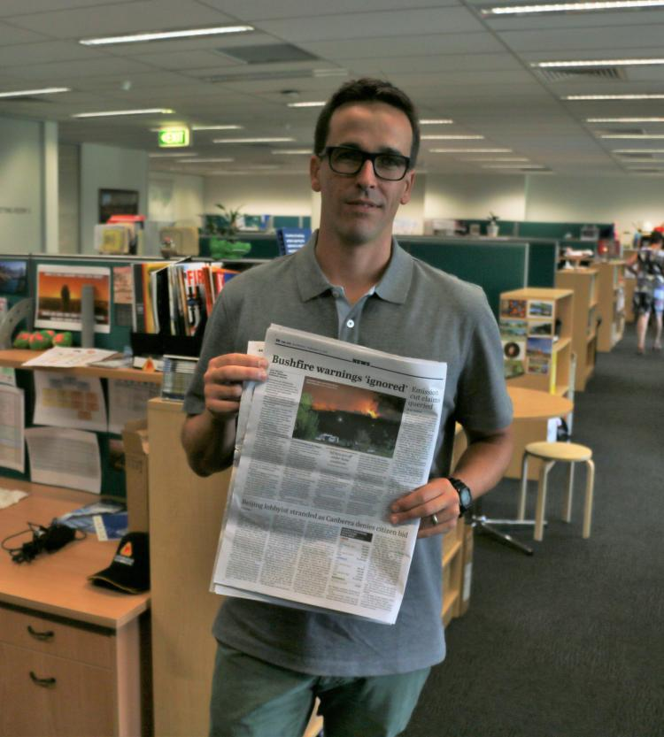 CRC researcher Josh Whittaker poses with his article