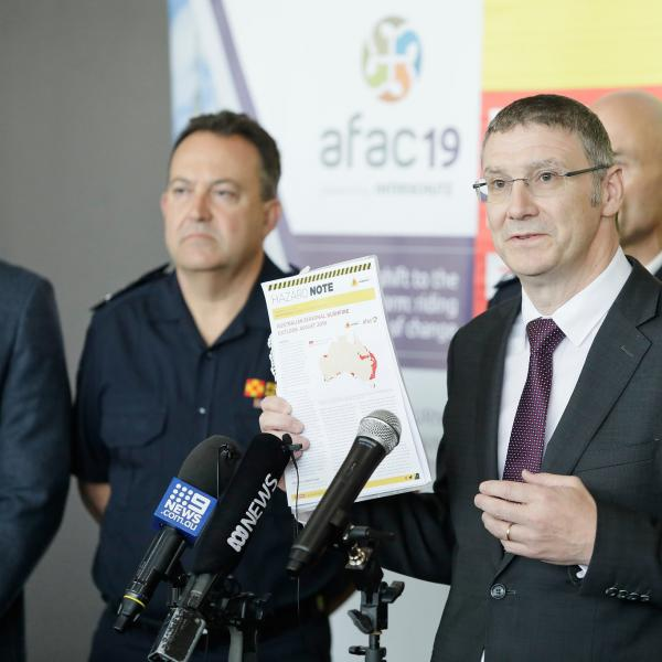 Dr Richard Thornton, CEO of the Bushfire and Natural Hazards CRC, launching the August 2019 Seasonal Bushfire Outlook at the AFAC19 conference. Photo: Bushfire and Natural Hazards CRC.