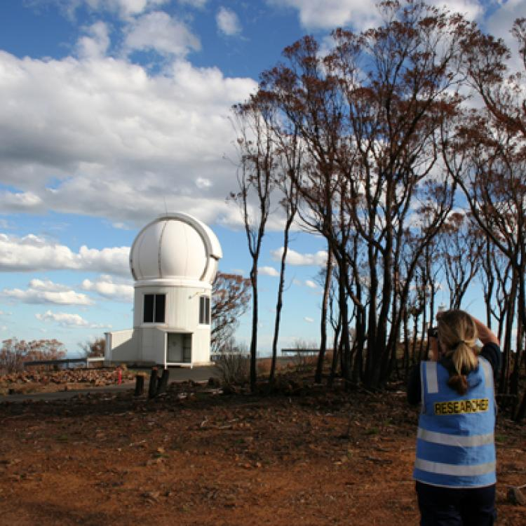 Conducting research at the Siding Spring Observatory after the Coonabarabran bushfire in 2013.