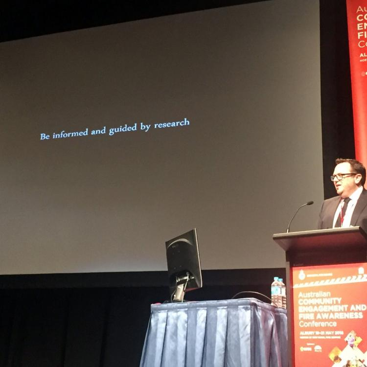 Research was central to the Australian Community Engagement and Fire Awareness conference, Albury 2016