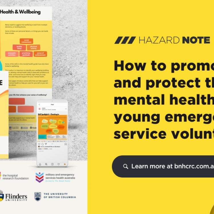 This research worked with young adult volunteers to develop resources that emergency services can use to promote positive mental health and wellbeing.