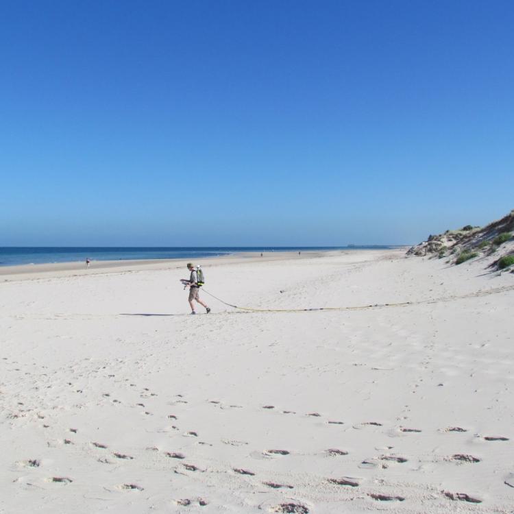 Undertaking storm surge research at a NSW beach. Photo: Geoscience Australia