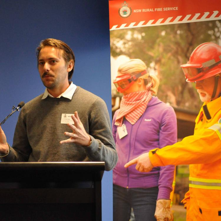Dr Timothy Neale presenting at the forum. Photo by NSW RFS.