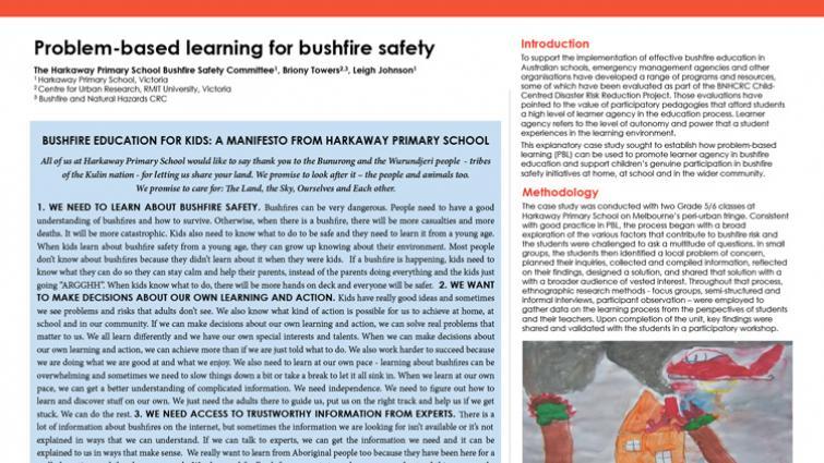 Problem-based learning for bushfire safety