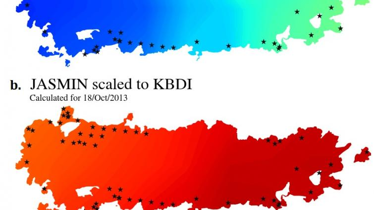 KBDI and the rescaled JASMIN soil dryness for the State Mine fire in NSW, Oct 2013.