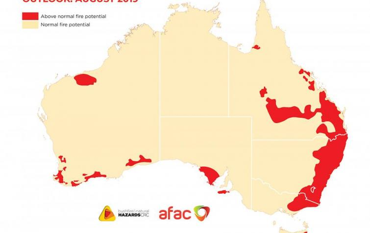 Vast areas of Australia, particularly the east coast, have an above normal fire potential this season.