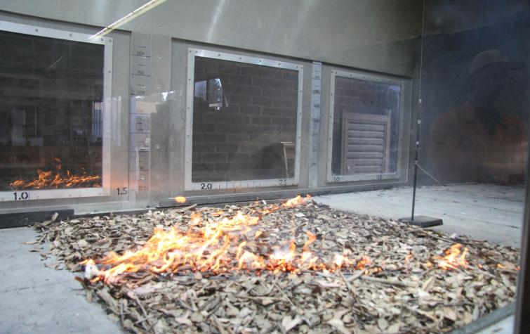 An experimental seperated v-shaped fire conducted in the CSIRO Pyrotron. Photo: Andrew Sullivan, CSIRO.