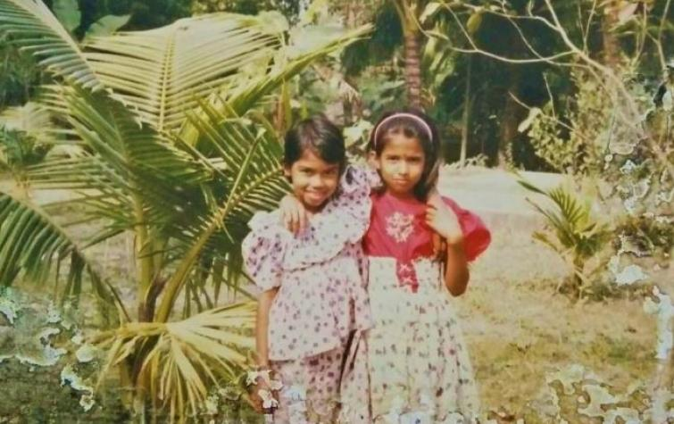 Mayeda Rashid (right) with her best friend in primary school in Bangladesh.