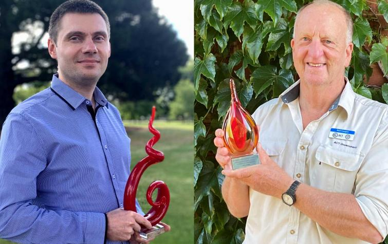 Dr Alex Filkov (left) and Neil Cooper (right) with their 2020 IAWF awards.