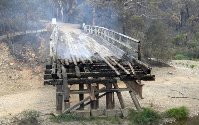 Bridge damaged by bushfire.