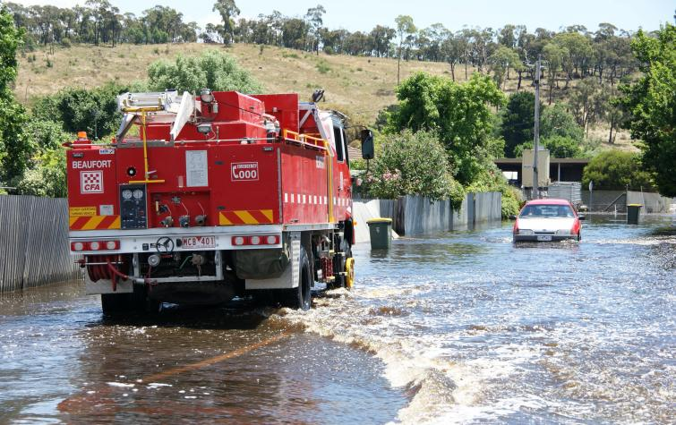 Floodwaters in Beaufort. Phot credit: CFA.
