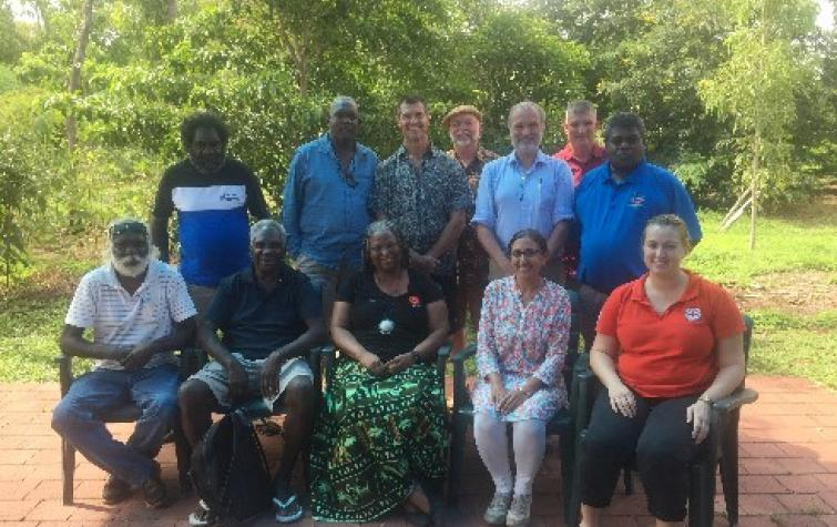 CDU Researchers (Drs Kamaljit K Sangha and Steve Sutton) with NAILSMA, Red Cross and Galiwinku community members. Photo: CDU