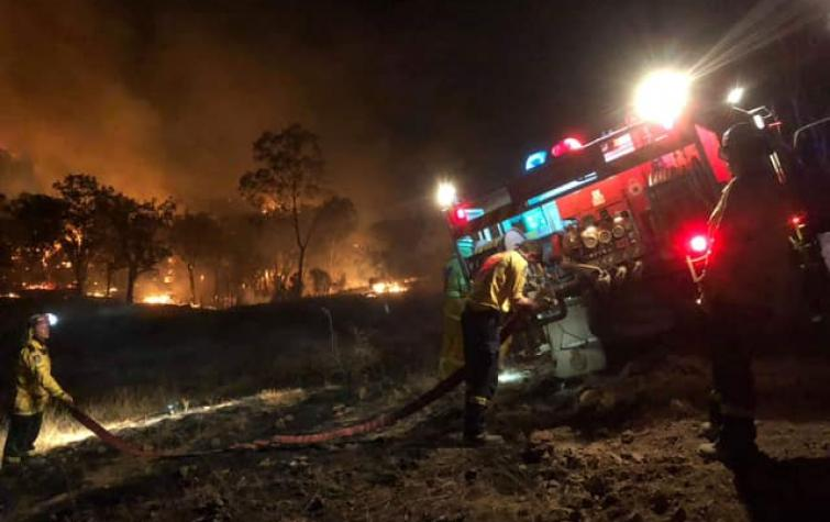 Curlewis firefighters during the Linton fires. Photo: NSW RFS.