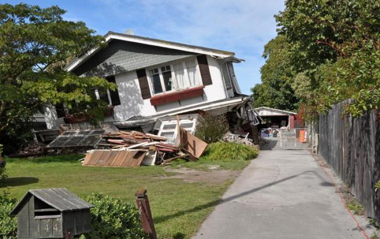 Earthquake-damaged house