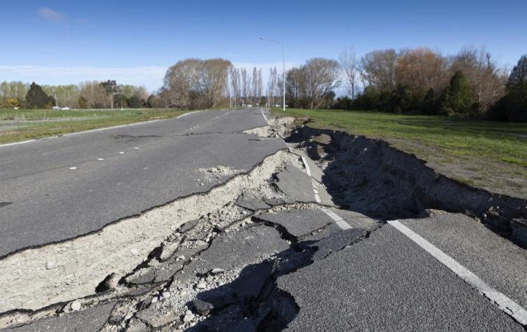 Earthquake damaged road.