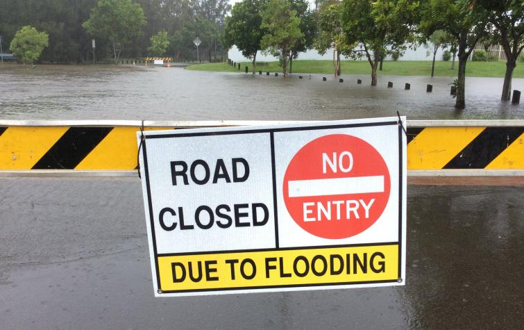 Road closure due to flooding.
