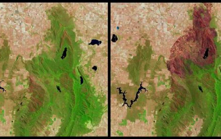 Northern Grampians, Landsat before and after fire January 2013. Photo: NASA