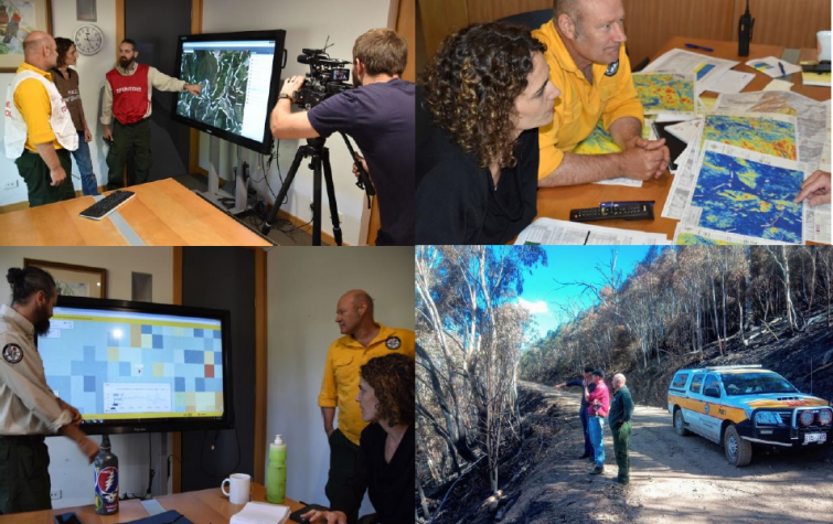Collaborative work between research team and ACT Parks and Conservation Service to enhance usability of Australian Flammability Monitoring System and LiDAR derived spatial maps of fuel loads to conduct prescribed burning program Photo: Marta Yebra