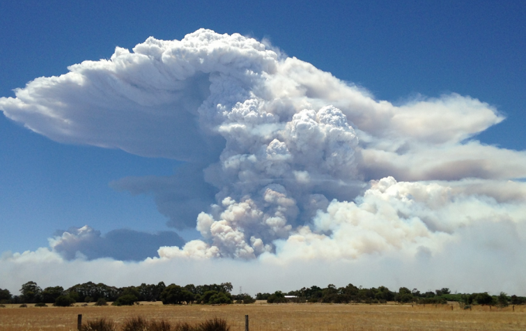 Smoke plume from the Waroona fire. Photo: Neil Bennet.