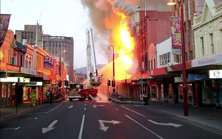 Fire in the urban landscape, Hobart. Photo: Richard Bugg.