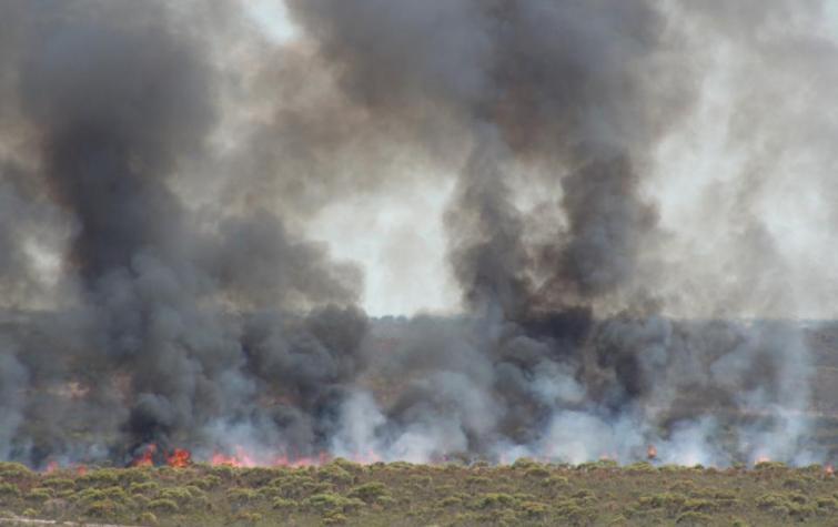 Ngarkat, South Australia, fire and smoke